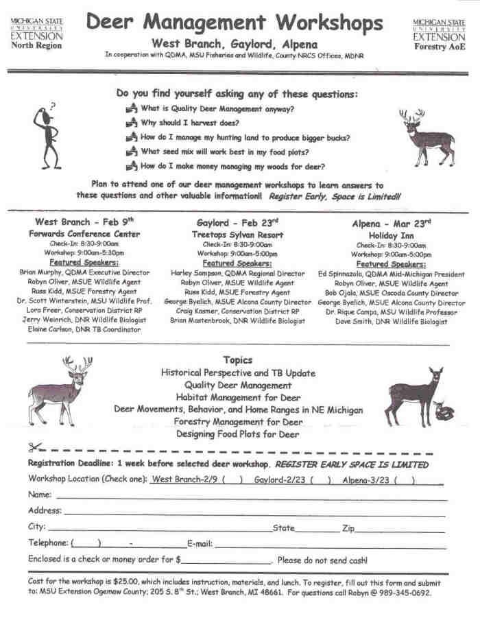 deer workshops