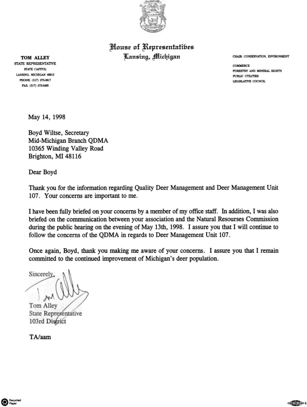 Representative Tim Alley Thank You Letter
