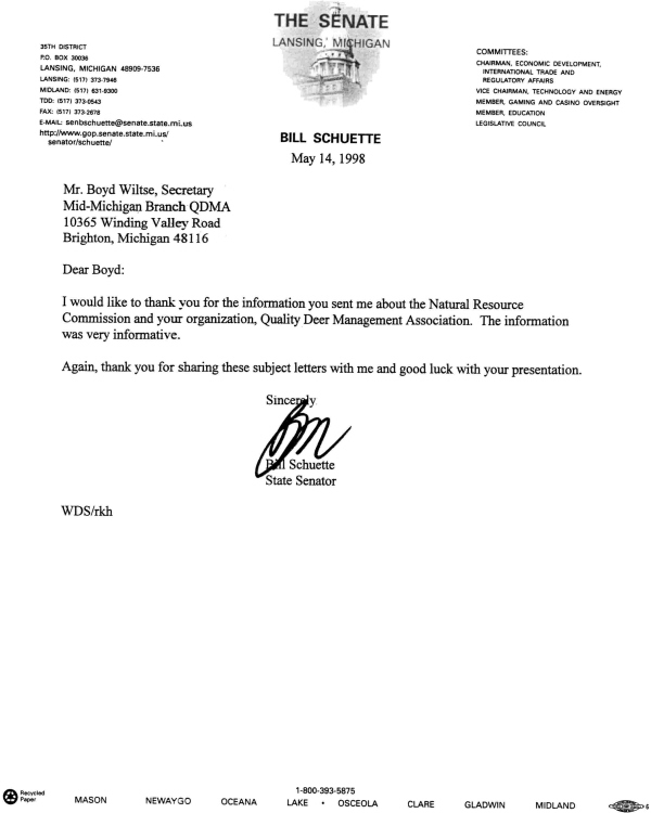 Senator Bill Schuette Thank You Letter
